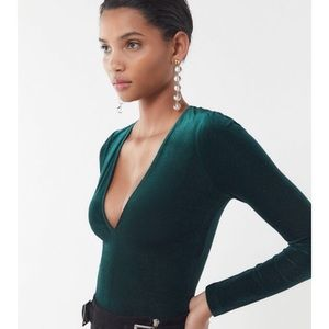 UO Forest Green Velvet Glitter Deep V Crop Top